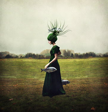 Kylli Sparre SURREAL WOMAN WITH FISH IN COUNTRYSIDE Women