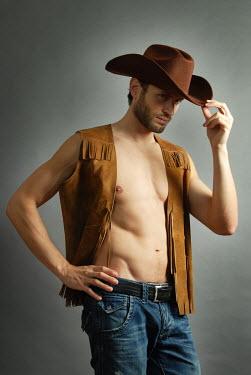 Jon Downie MUSCULAR MAN IN COWBOY HAT INSIDE Men