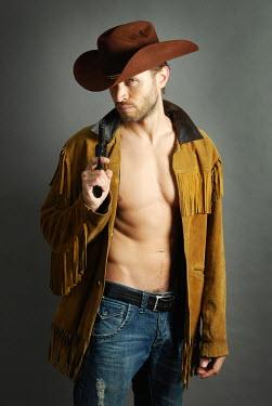 Jon Downie MUSCULAR COWBOY MAN WITH GUN Men