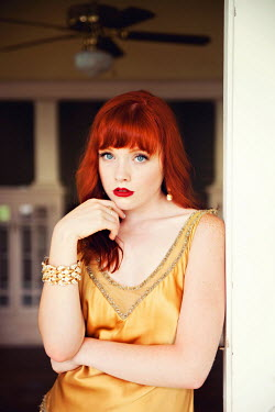 Rachel Nichole RETRO RED HAIRED WOMAN IN YELLOW DRESS Women