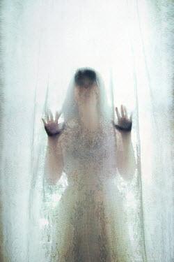 Susan Fox SPOOKY WOMAN BEHIND SUNLIT CURTAIN Women