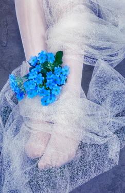 Svetlana Sewell BLUE FLOWERS NEAR WOMANS FEET Body Detail