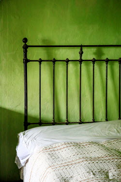 Evelina Kremsdorf CLOSE UP OF BED INSIDE GREEN ROOM Interiors/Rooms