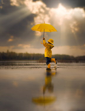 Jake Olson CHILD WITH UMBRELLA REFLECTED IN PUDDLE Children