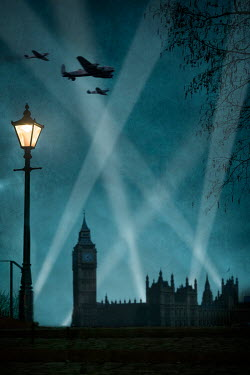 Lee Avison VINTAGE PLANES FLYING OVER LONDON AT NIGHT Miscellaneous Cities/Towns