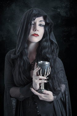 Victoria Davies WITCH WOMAN WITH GOBLET OUTSIDE AT NIGHT Women