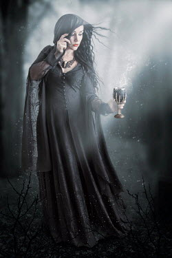 Victoria Davies WITCH WOMAN WITH GOBLET IN WOODS AT NIGHT Women