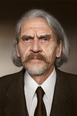 Efim Shevchenko CLOSE UP OF OLD GREY HAIRED MAN INDOORS Men