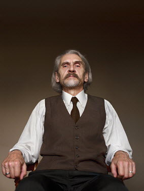 Efim Shevchenko OLD GREY HAIRED MAN SITTING INDOORS Men