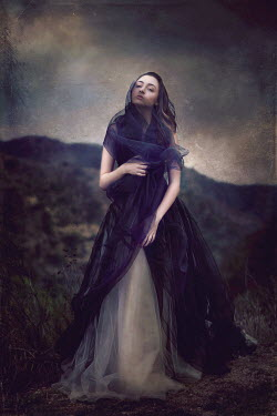 Jessica Drossin YOUNG GOTHIC WOMAN IN BALL GOWN OUTSIDE Women