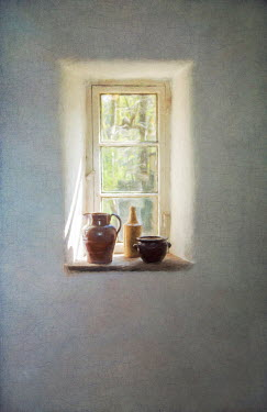 Paul Grand RUSTIC JUGS ON WINDOW LEDGE INDOORS Interiors/Rooms