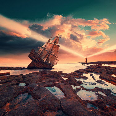 Caras Ionut SHIPWRECK NEAR LIGHTHOUSE UNDER CLOUDY SKY Boats