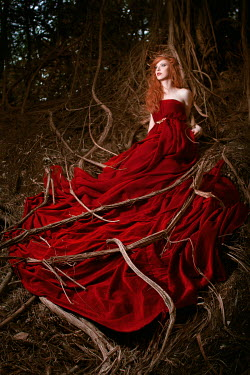 Sina Domke WOMAN IN BALL GOWN TANGLED IN TREE ROOTS Women