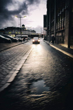 Tim Robinson CAR SHINING HEADLIGHTS ON URBAN STREET Cars