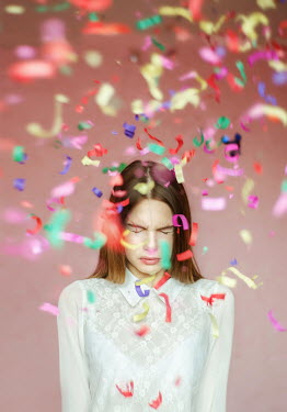 Inna Mosina WOMAN WITH EYES CLOSED AMONG CONFETTI Women