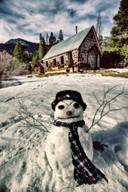 Eleanor Caputo SNOWMAN IN FRONT OF CABIN Snow/ Ice