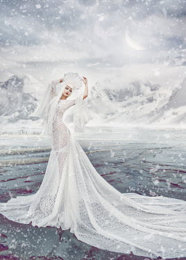 Margarita Kareva WOMAN IN WHITE DRESS IN SNOW Women