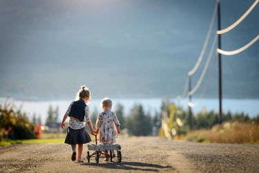 Viktoria Haack TWO LITTLE GIRLS ON COUNTRY ROAD Children
