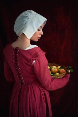Lee Avison MAID WEARING BONNET HOLDING FRUIT Women