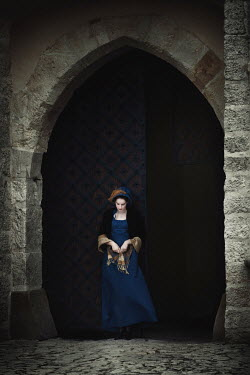 Magdalena Russocka HISTORICAL WOMAN IN CASTLE DOORWAY Women