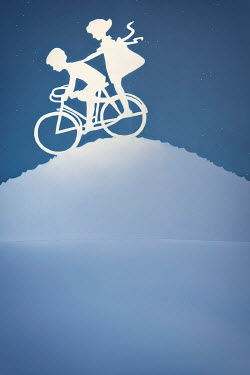 Emma Goulder PAPER CUT OUT OF TWO CHILDREN ON BICYCLE Children