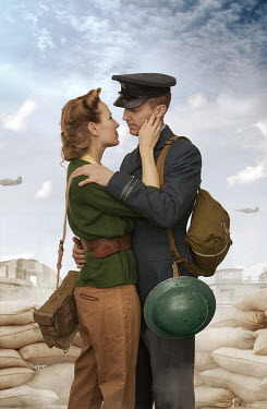 CollaborationJS 1940S WARTIME COUPLE EMBRACING IN TRENCHES Couples