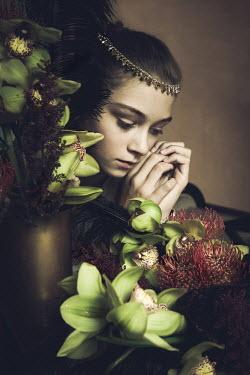 Irma Kanova HISTORICAL YOUNG GIRL NEAR FLOWERS INDOORS Women