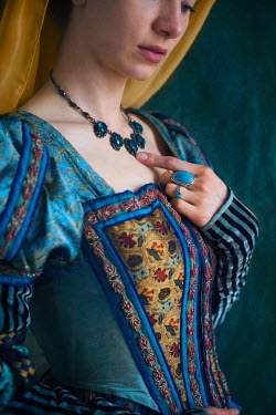 Lee Avison CLOSE UP OF TUDOR WOMAN IN BLUE Women