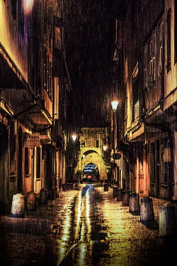 Elly De Vries ALLEY OF HOUSES ON RAINY NIGHT Streets/Alleys