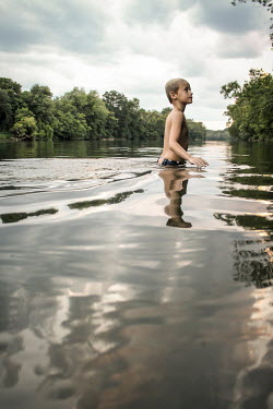 Stephen Carroll WET HAIRED BOY WADING IN LAKE Children