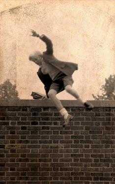 Debra Lill SCHOOLBOY JUMPING OVER A WALL Children