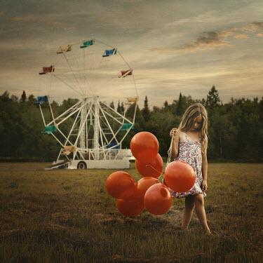 Robin Macmillan SAD YOUNG GIRL WITH BALLOONS Children