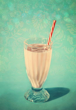 Lyn Randle STRAWBERRY MILKSHAKE AND STRAW Miscellaneous Objects