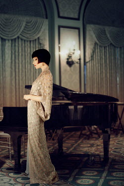 ILINA SIMEONOVA RETRO WOMAN BY PIANO IN GRAND ROOM Women