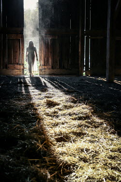 Stephen Carroll YOUNG WOMAN WALKING INTO BARN Women