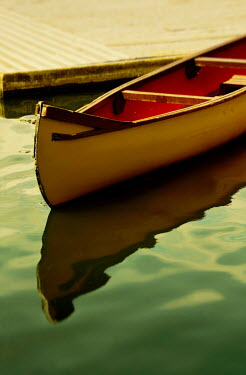 Victor Habbick WOODEN CANOE ON LAKE Miscellaneous Objects