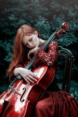 Magdalena Russocka WOMAN IN RED DRESS WITH CELLO Women