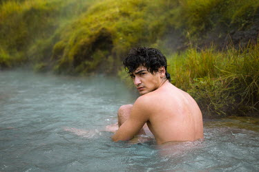 Amelie Satzger NAKED MAN SITTING IN RIVER Men