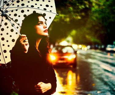 Metin Demiralay WOMAN WITH UMBRELLA BY CAR OUTSIDE Women