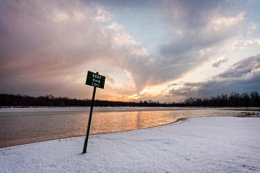 Evelina Kremsdorf DEEP END SIGN NEAR SNOWY LAKE Lakes/Rivers