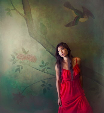 Vanessa Ho ASIAN WOMAN BY MURAL ON WALL Women