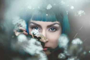 Sanja Kulusic BLUE HAIRED WOMAN AMONG FLOWERS Women