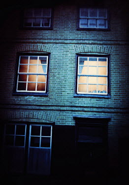 Lyn Randle WINDOWS LIT UP IN TOWN HOUSE Houses