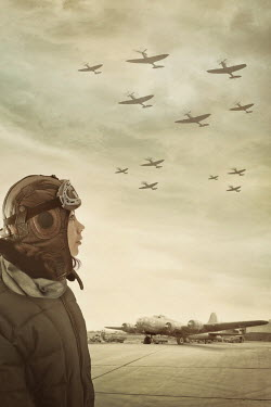 Sandra Cunningham female pilot looking at planes overhead Women