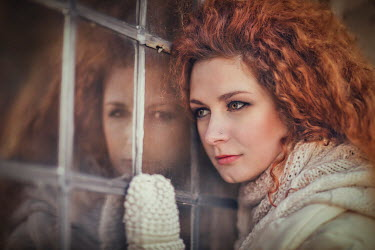 Evelina Kremsdorf RED HAIRED WOMAN REFLECTED IN WINDOW Women
