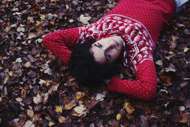 Anna Rakhvalova MAN LYING ON AUTUMN LEAVES Men
