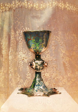 Nina Pak CLOSE UP OF ORNATE GREEN GOBLET Miscellaneous Objects
