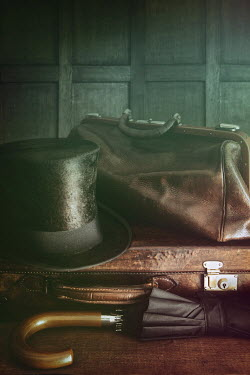 Sandra Cunningham TOP HAT AND SUITCASES INDOORS Miscellaneous Objects