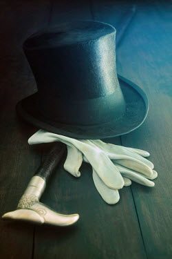 Sandra Cunningham TOP HAT AND GLOVES ON TABLE Miscellaneous Objects