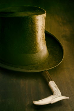 Sandra Cunningham TOP HAT AND CANE LYING ON TABLE Miscellaneous Objects